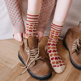 长袜子女中筒袜春秋冬小腿袜长筒纯棉ins潮网红款高筒堆堆袜外穿