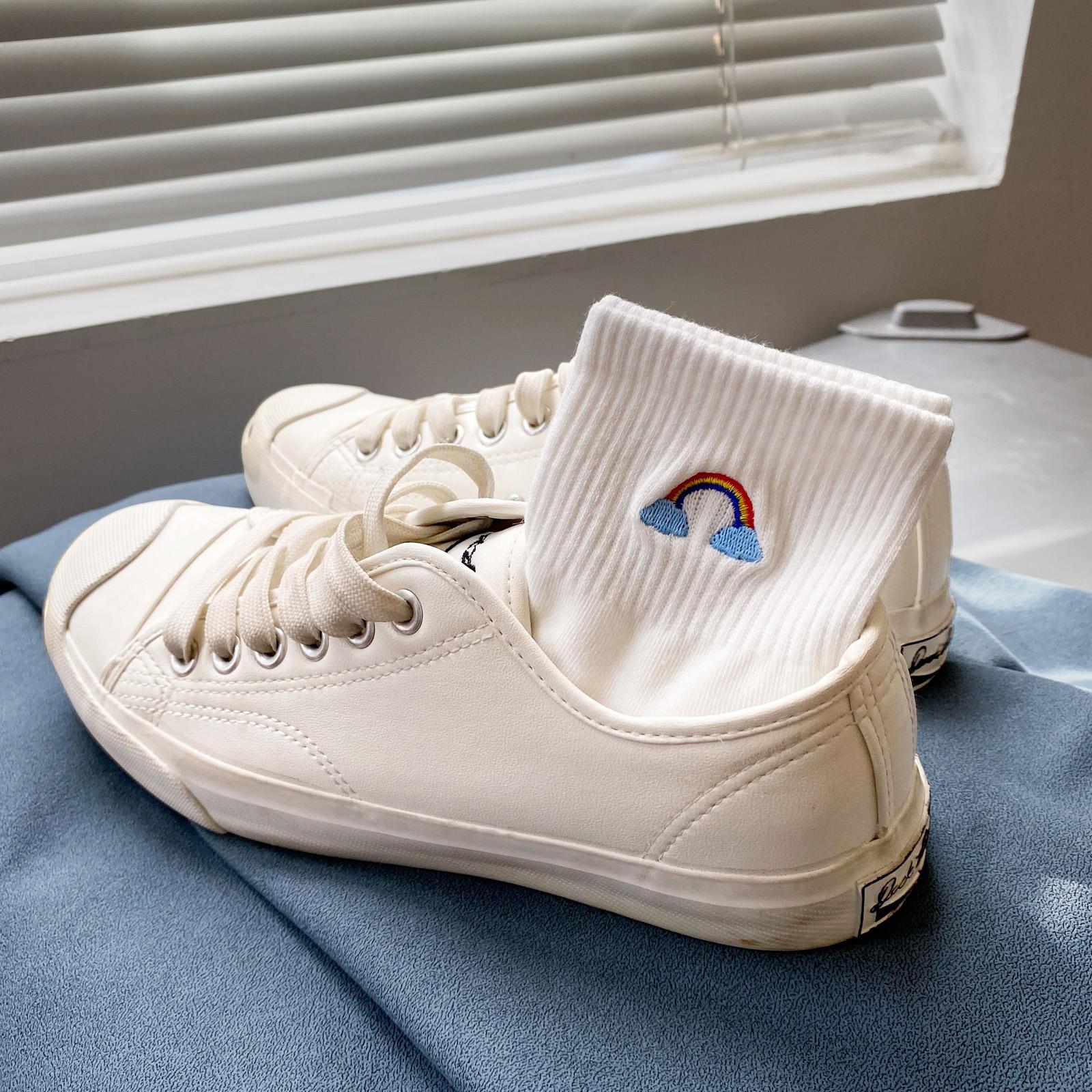 白袜子女白色夏季薄款透气纯棉ins潮袜中筒袜短袜夏天运动袜短筒