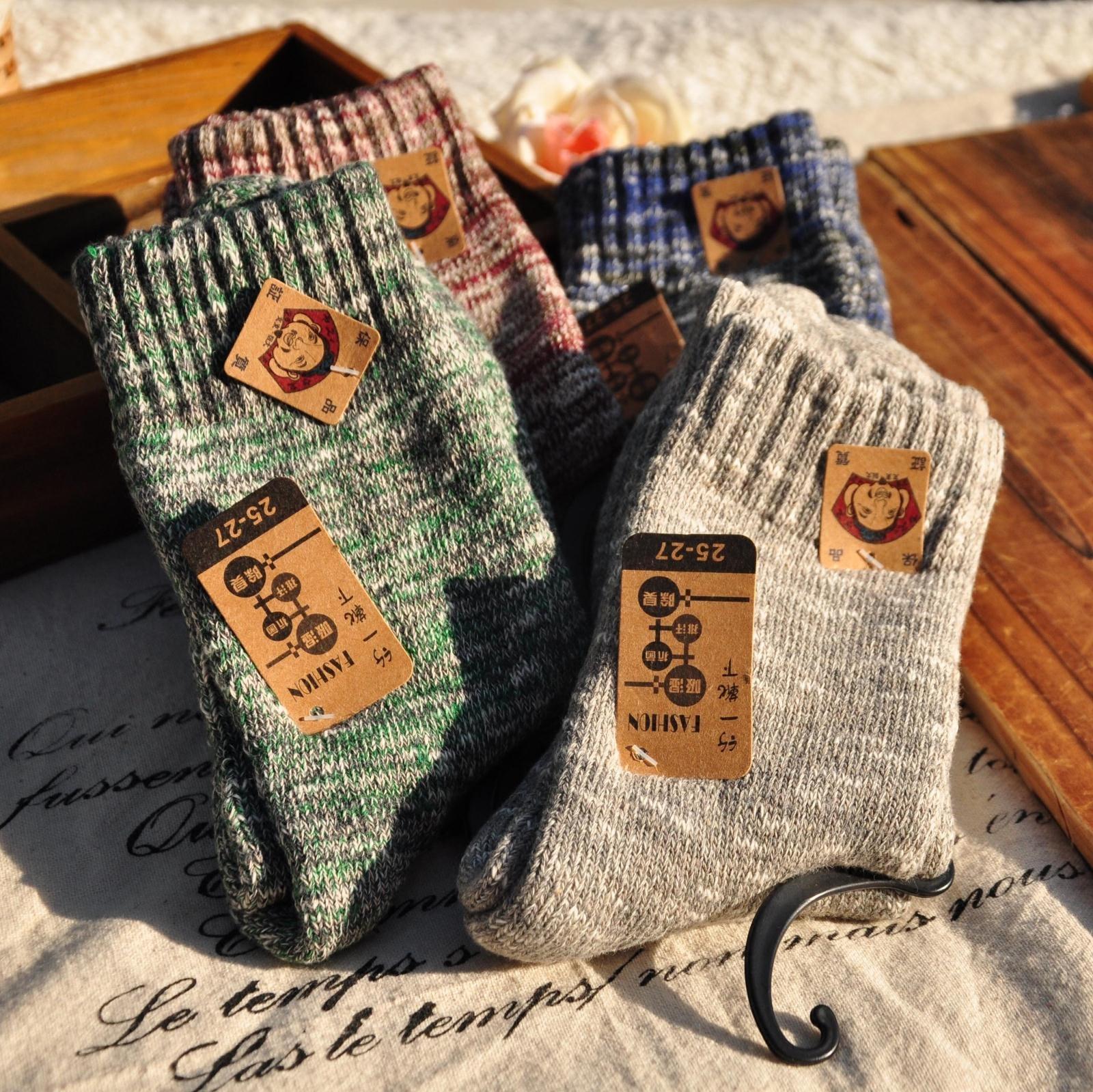 10月15日最新优惠加厚男袜子纯棉袜男士中筒袜加绒保暖复古毛巾袜秋冬天毛线袜长袜