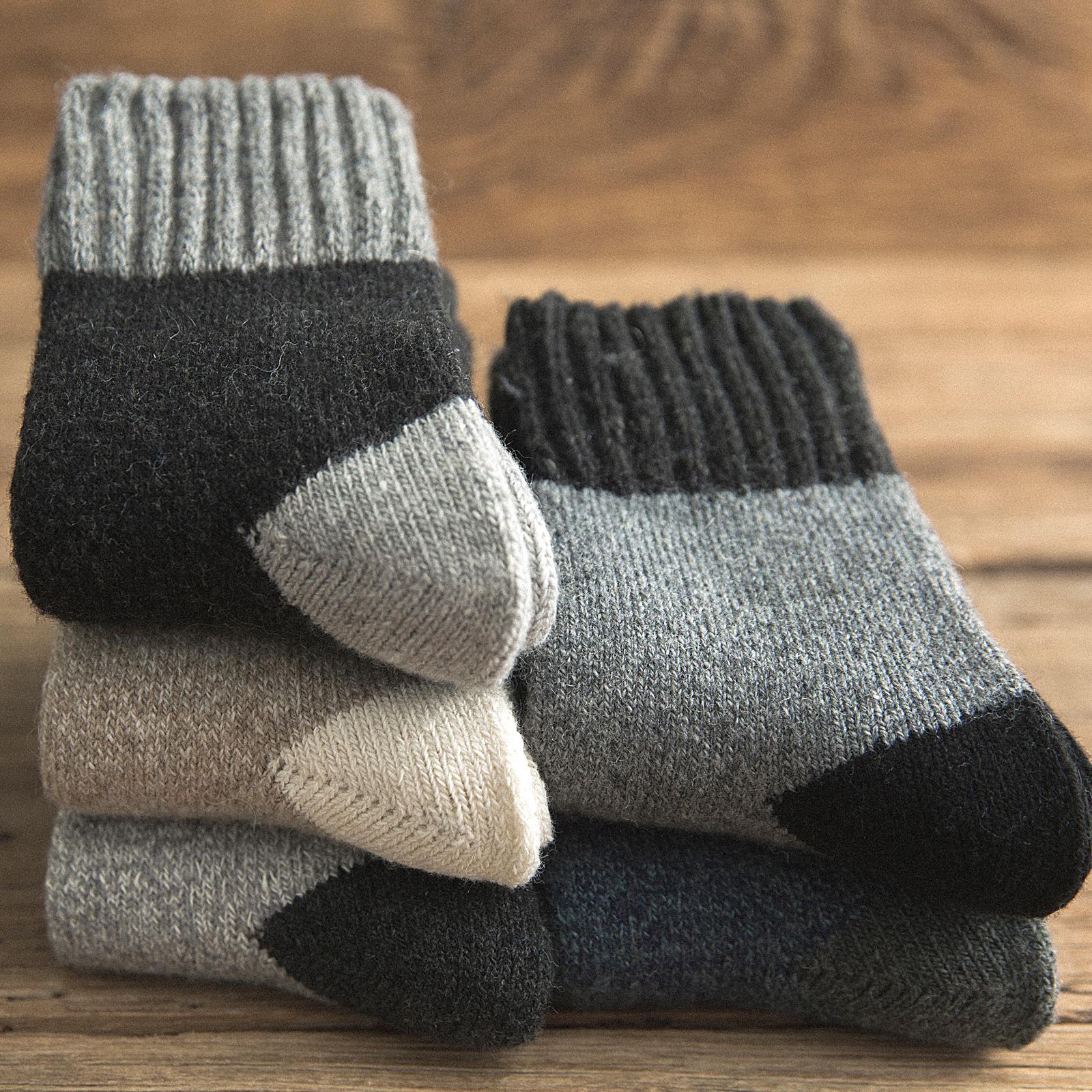 长袜子男士秋冬季羊毛绒加厚款毛袜保暖冬天中筒袜长筒加绒毛巾袜