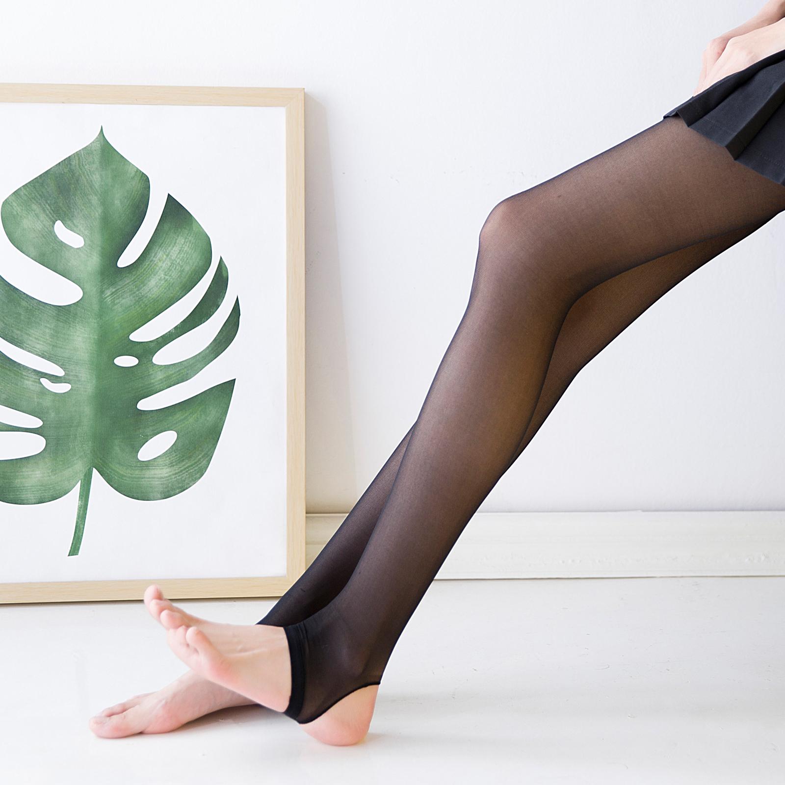 踩脚袜黑丝袜隐形全透明女连裤袜春秋性感黑色肉色打底袜丝滑丝袜