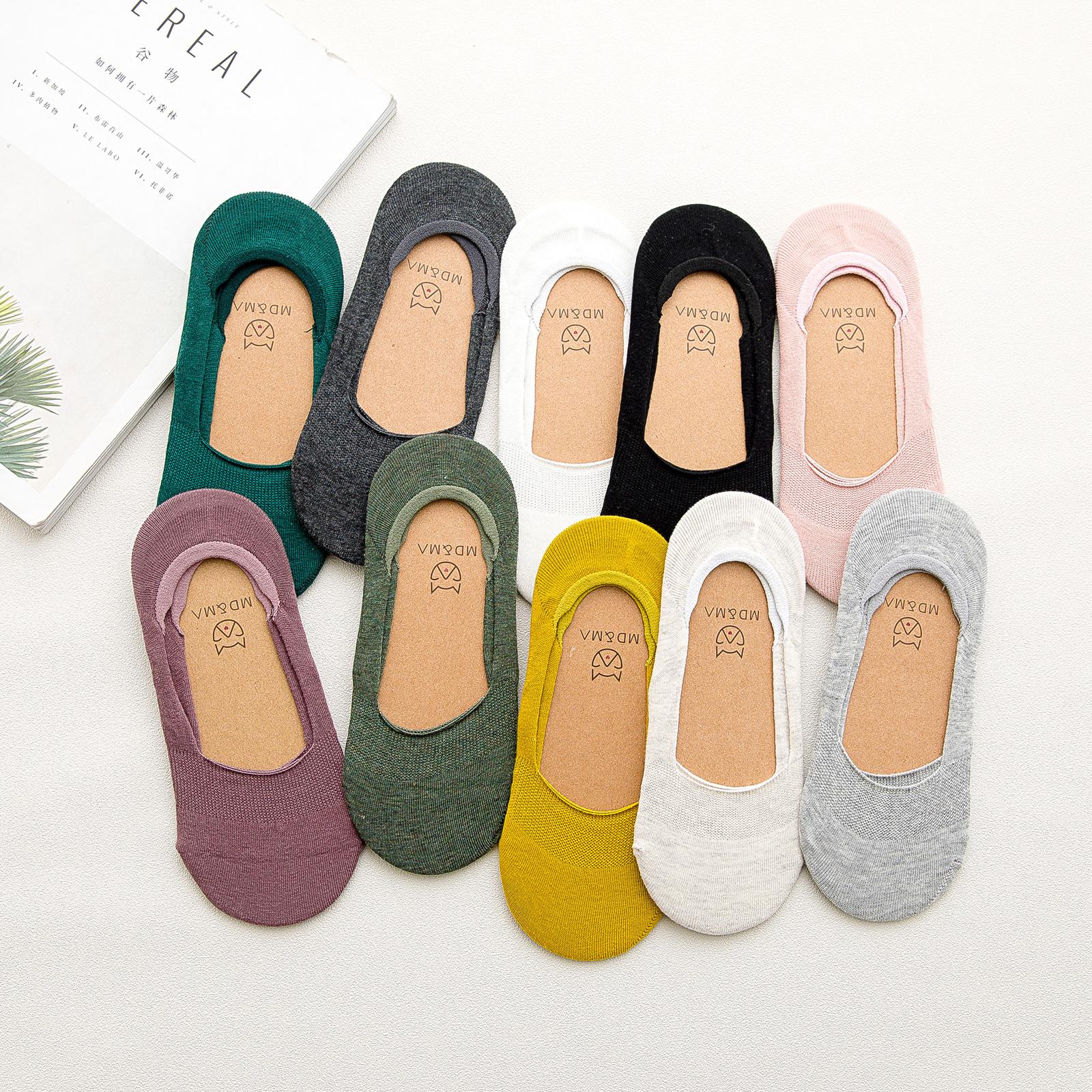 船袜套女纯棉浅口隐形袜底薄款夏季不掉跟防臭硅胶防滑全棉短袜子
