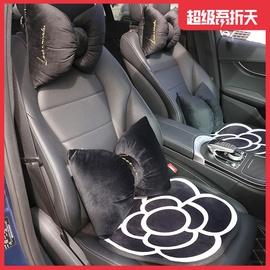 汽车头枕腰靠创意可爱蝴蝶结座椅护颈枕头车载坐垫冬季毛绒女神款图片