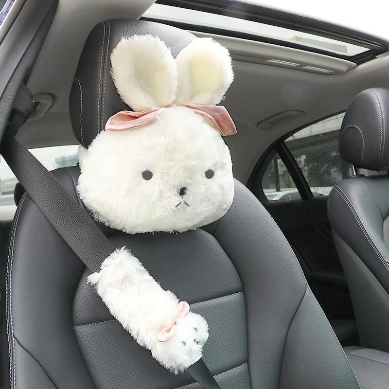 汽车头枕护颈枕一对卡通可爱车用座椅靠枕创意车载安全带护肩套装35.00元包邮