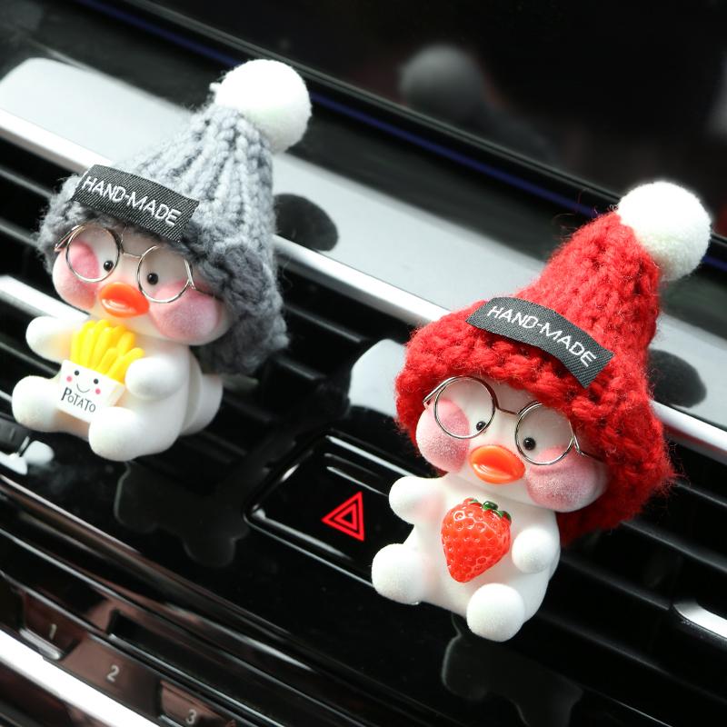 热销177件正品保证汽车可爱网红鸭空调出风口车载香水