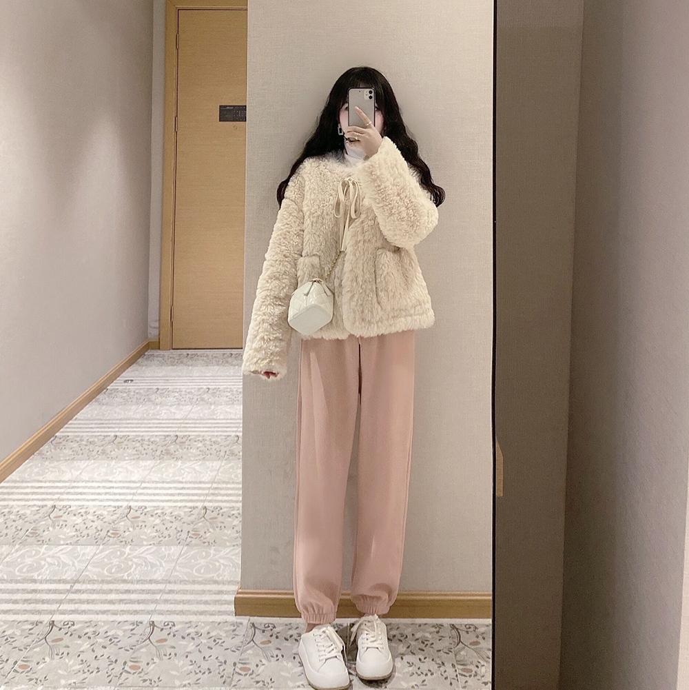 K小姐女装自制 加绒加厚休闲裤自留款百搭系带高腰哈伦裤粉束脚裤