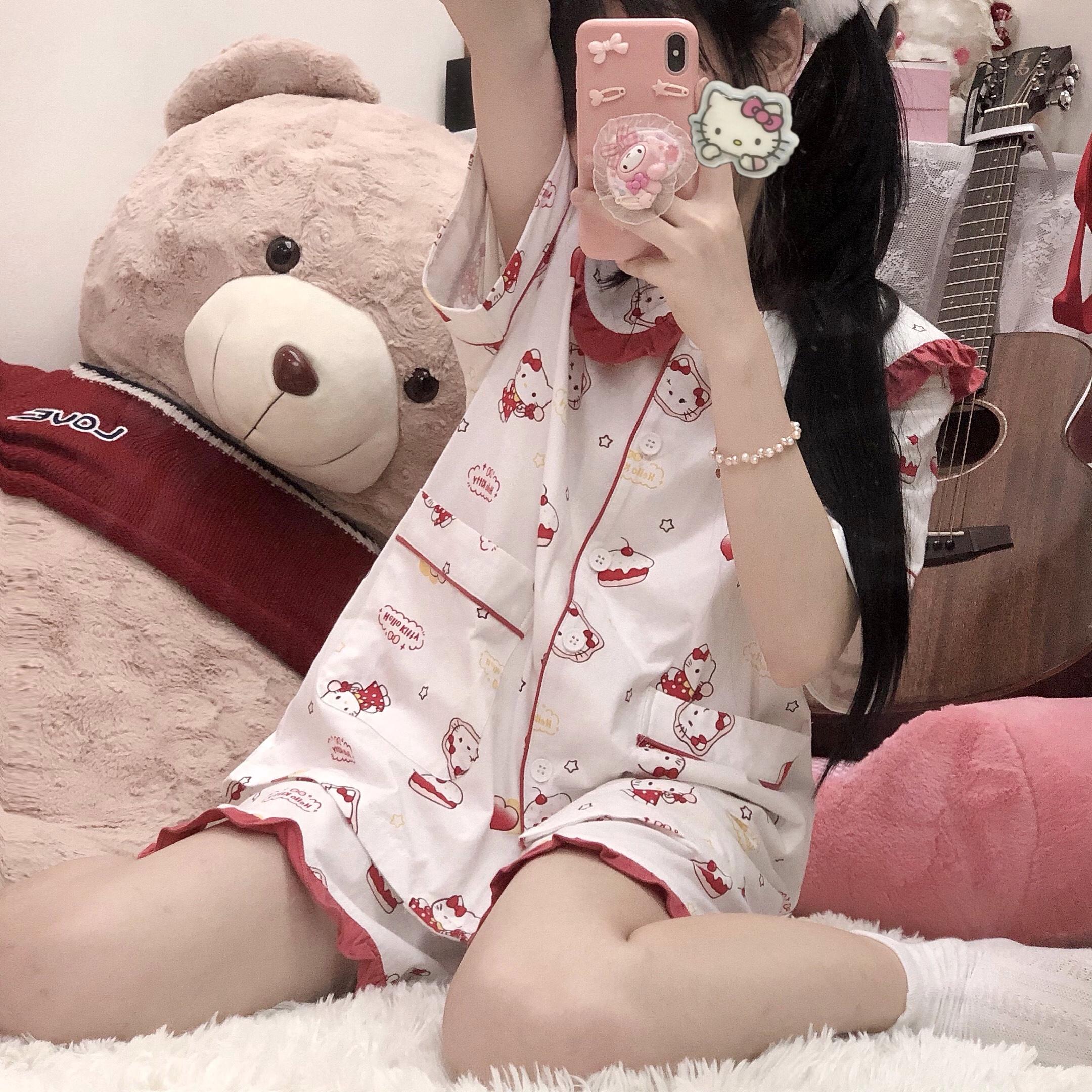 原创日系可爱软妹kt猫少女睡衣