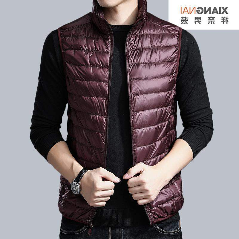 Famous brand spring and autumn middle aged mens spring coat jacket down jacket vest sleeveless light cotton vest