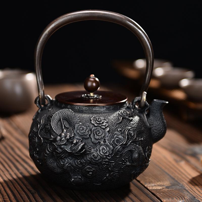 铁茶壶 铁壶铸铁烧水泡茶手工铁壶 日本南部铁壶电陶炉煮茶炉套装