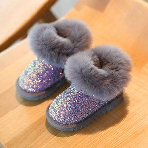 女童公主婴儿鞋子棉鞋小童雪地靴子女宝宝冬季加绒儿童鞋软底学步