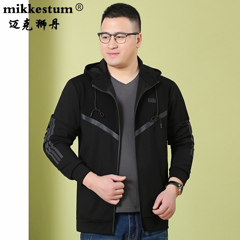 High end brand spring fattening mens jacket extra large loose casual Hooded Sweater fat sports long