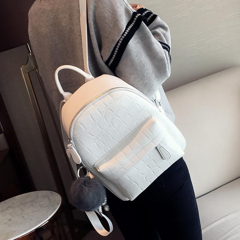 Original backpack womens summer Korean fashion simple crocodile pattern White Retro PU leather girls Travel Backpack