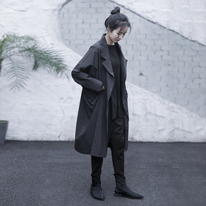 风衣女中长款原创设计女装高端大气2021春季气质宽松设计感外套女