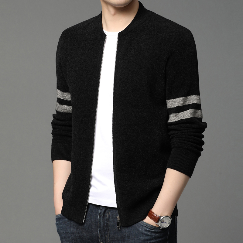 2021 spring and autumn baseball men's knit cardigan wear sinier sweater men's jacket Korean version of the trend top