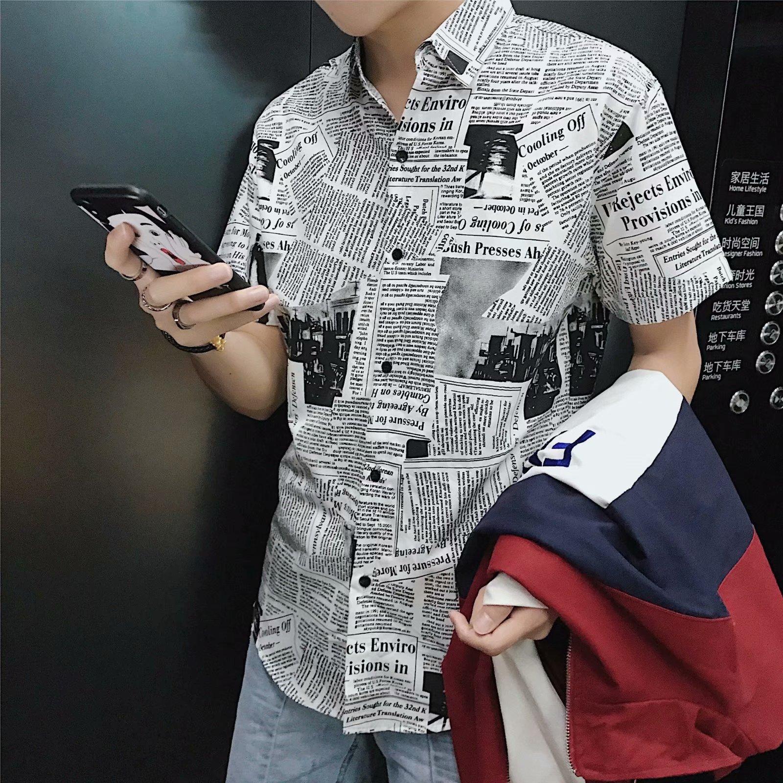 INS超火发型师衬衫短袖男衬衣韩版修身报纸图案潮流小伙精神衣服