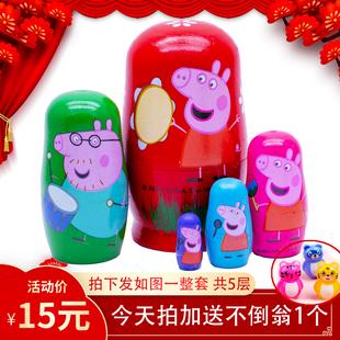 有5层 高端礼品 俄罗斯套娃小猪款 一套15元 椴木材质儿童礼物玩具