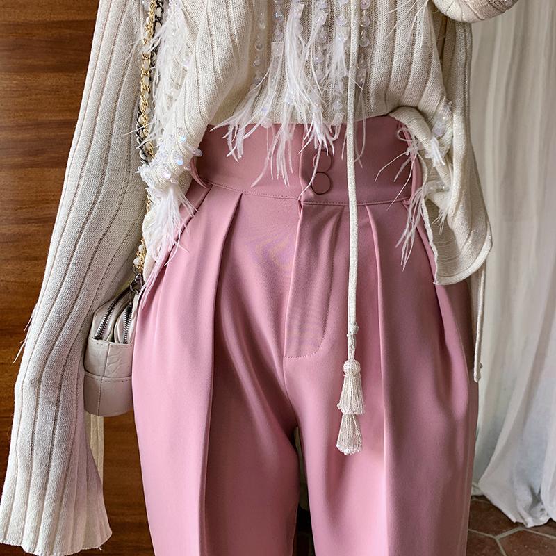 粉色直筒宽松休闲西装裤女2020春季新款长款高腰显瘦百搭休闲裤