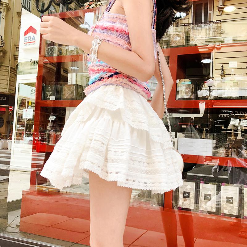 白色蕾丝蓬蓬裙甜甜的半身裙子女夏蛋糕学生高腰小短裙a字裙伞裙