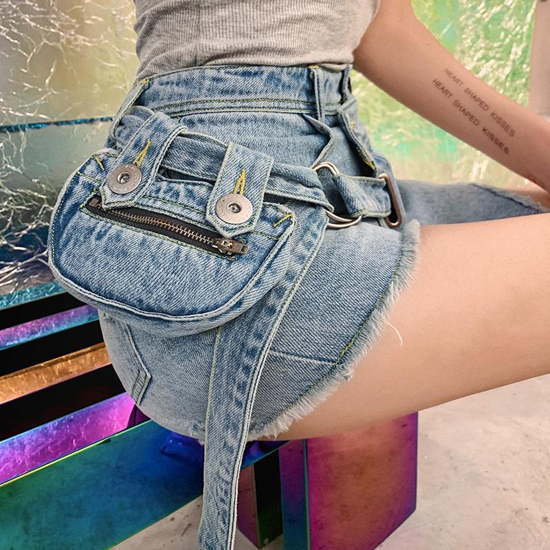 【地球店】小众不撞款 可拆卸腰包浅色流苏牛仔短裤女夏高腰显瘦