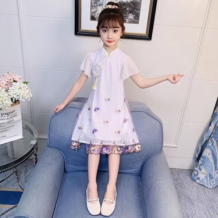 2021童装新款夏季中大女童洛丽塔刺绣花朵连衣裙P59
