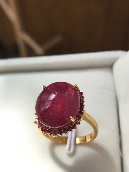 Imported gold-plated ruby ring large grain ruby ring classic