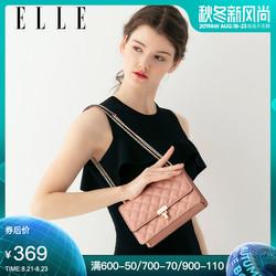 ELLE女包2019新款斜挎包92113时尚小香风菱格纹链条包单肩包女包