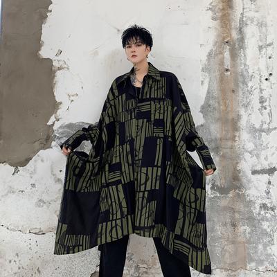 2019秋款暗黑前长后短几何图案男士宽松长袖衬衫 KK1211/P100