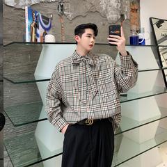 2019秋装领结装饰格子布宽松男士长袖衬衫 二色KK979/P85