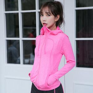瑜伽服春秋款长袖健身服女士外套上衣跑步运动健身房大码显瘦开衫