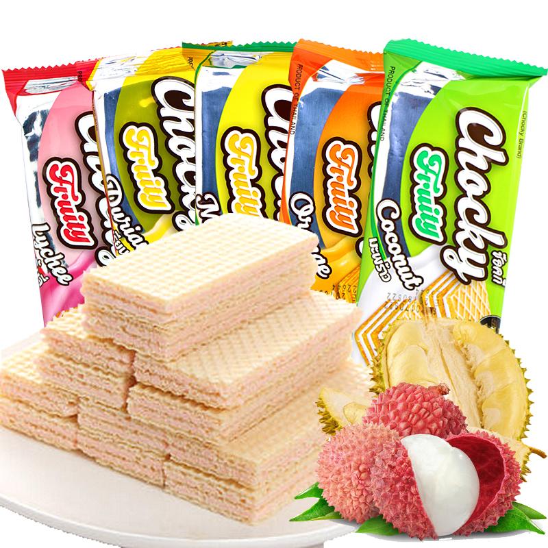 泰国进口零食巧客chocky榴莲 芒果橙子水果夹心威化饼干30g