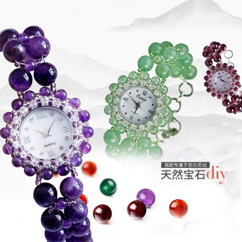 节日礼品女士精品腕表天然水晶玛瑙手链表玉石防水时装手镯手表