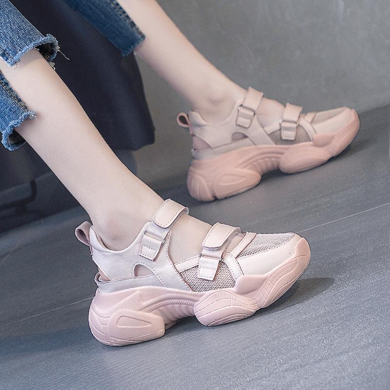 包头镂空凉鞋女2021年新款夏季透气网面老爹鞋坡跟厚底休闲运动鞋