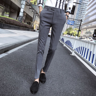 英伦秋季青年格子休闲裤男士修身小脚休闲长裤潮C411-K812-P80