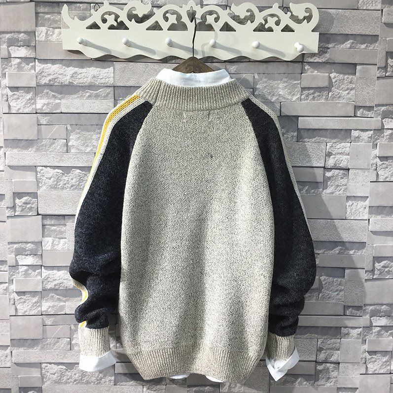 Loose mens sweater color matching coconut embroidery sweater mens autumn and winter half high collar fashion sweater mens coat