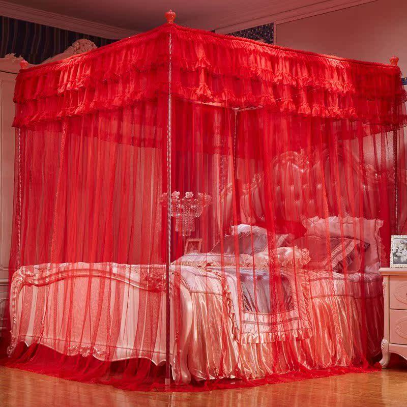新款婚庆蚊帐1.8m双人床大红色加厚加密三开门宫廷2米帐子结婚家
