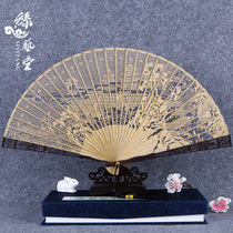 絲藝堂緬香木扇檀香扇子中國風折扇女式禮品鏤空雕花古風工藝扇
