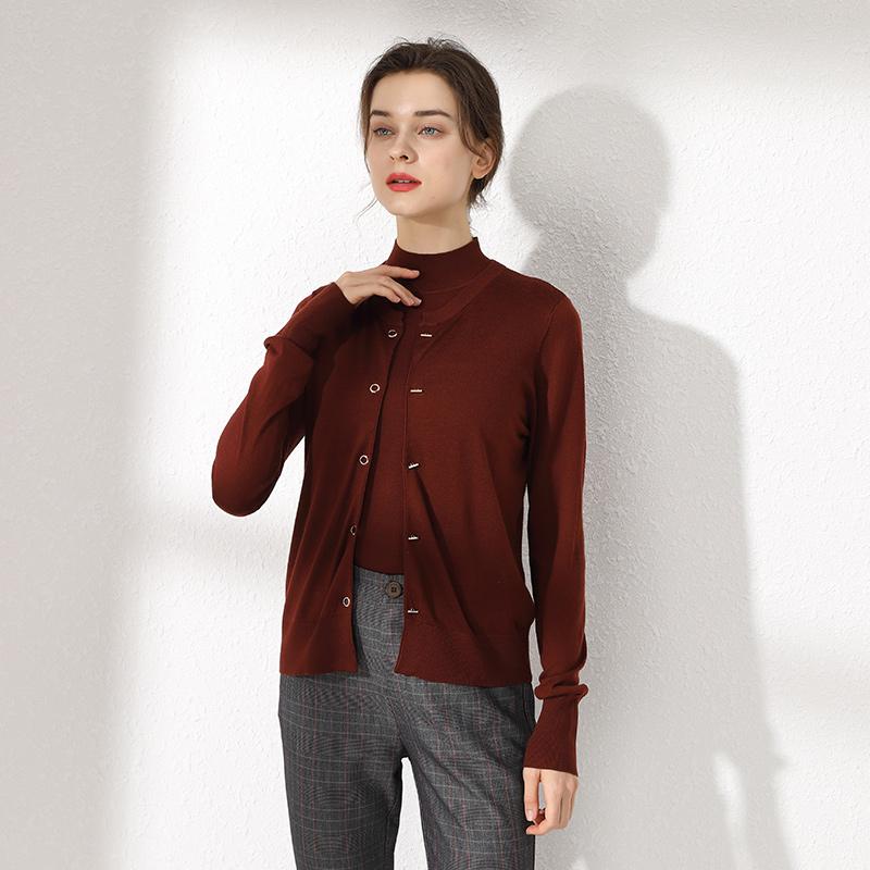 秋冬新款圆领羊毛针织衫宽松纯色女士百搭休闲长袖薄款小开衫毛衣