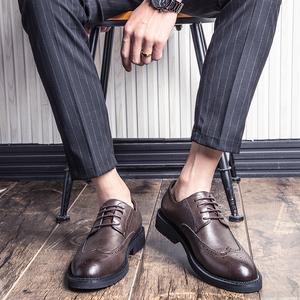 领20元券购买皮鞋男黑色布洛克韩版英伦休闲商务正装大码内增高春季青少年皮鞋