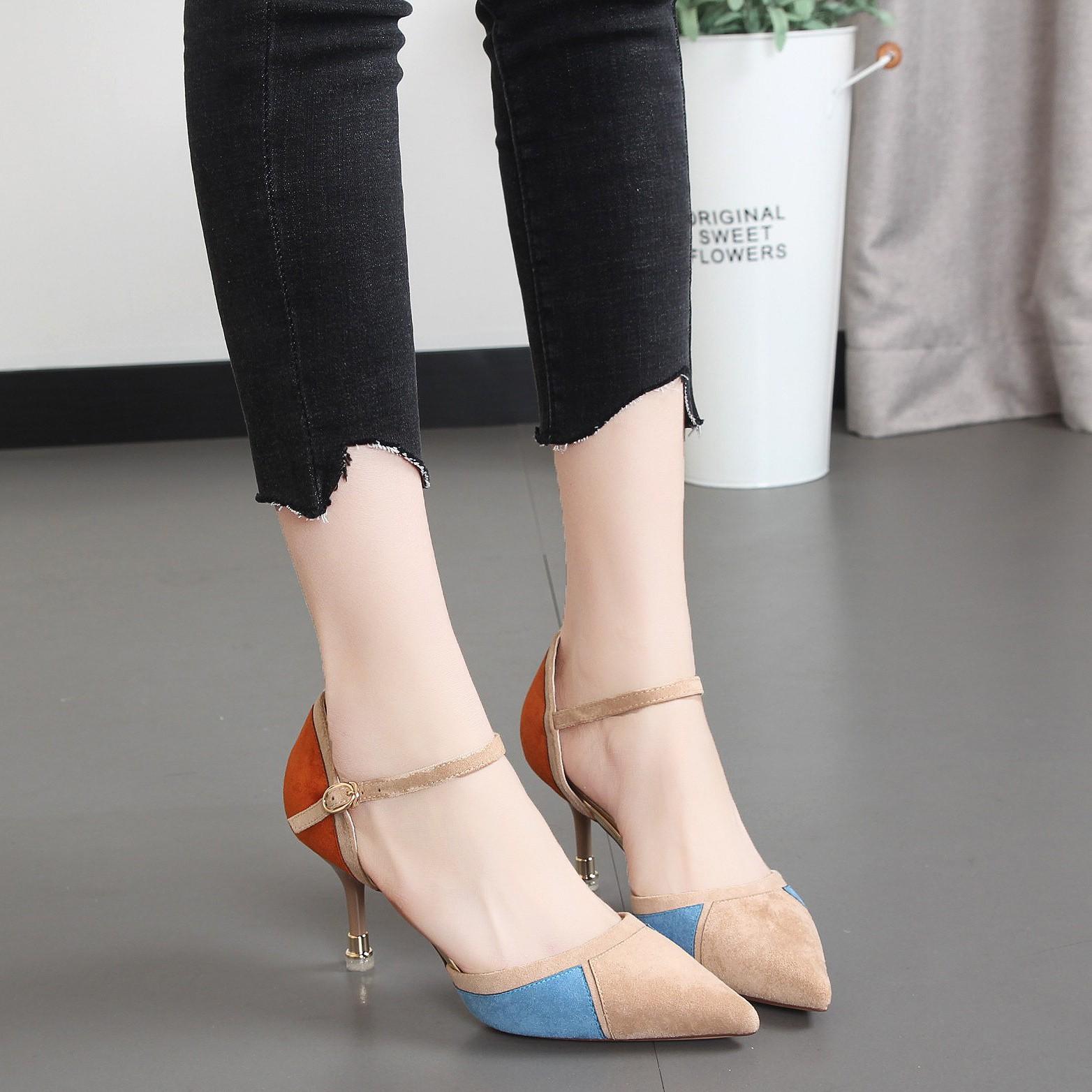 日本购2019年韩版中空女单鞋凉鞋尖头浅口一字扣拼色子流行女鞋新