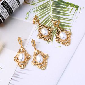 耳环2020新款潮长款气质珍珠宝石耳坠耳钉网红耳饰品耳夹无耳洞女