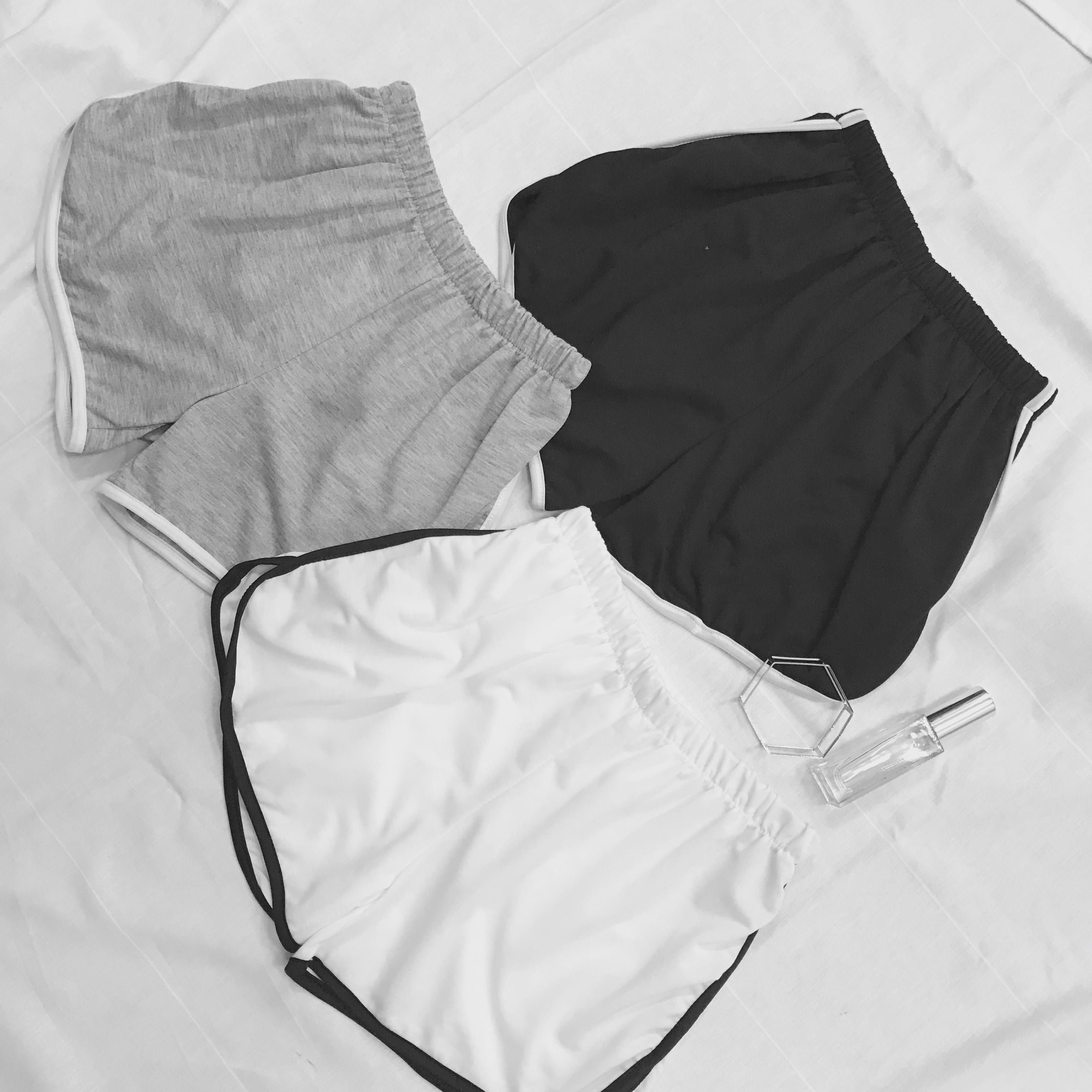 拼色%纯棉棉的耐穿纯棉夏家里时尚好配运动短裤居家薄款流行松紧