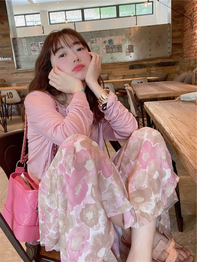 [in stock] polas same type of South Korea dongdamen gouache flower drooping Ruffle Skirt pants pants casual pants