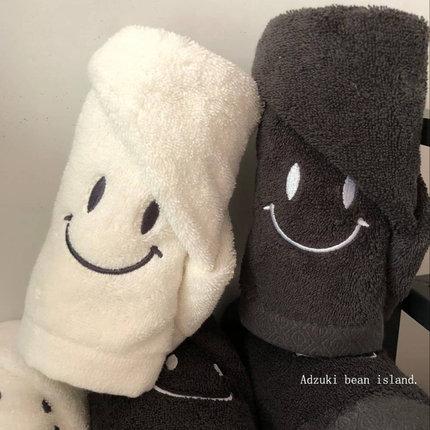 ins韩国情侣刺绣家用洗脸纯棉大毛巾 软软的芜敌可爱smile毛巾