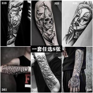 半臂纹身贴男女 防水持久纹身贴纸花臂刺青性感纹身贴纸身体彩绘