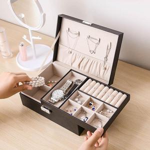 耳环盒子整理耳钉项链收纳首饰盒防尘大容量韩国带锁耳饰手饰品盒