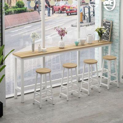 靠墙吧台桌家用客厅高脚桌简约酒吧餐桌奶茶店桌椅组合长条桌窄桌