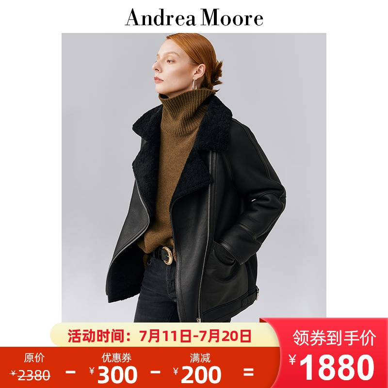 Andrea Moore original ecological women's Sheepskin Fur one piece leather coat women's leather fur coat short coat