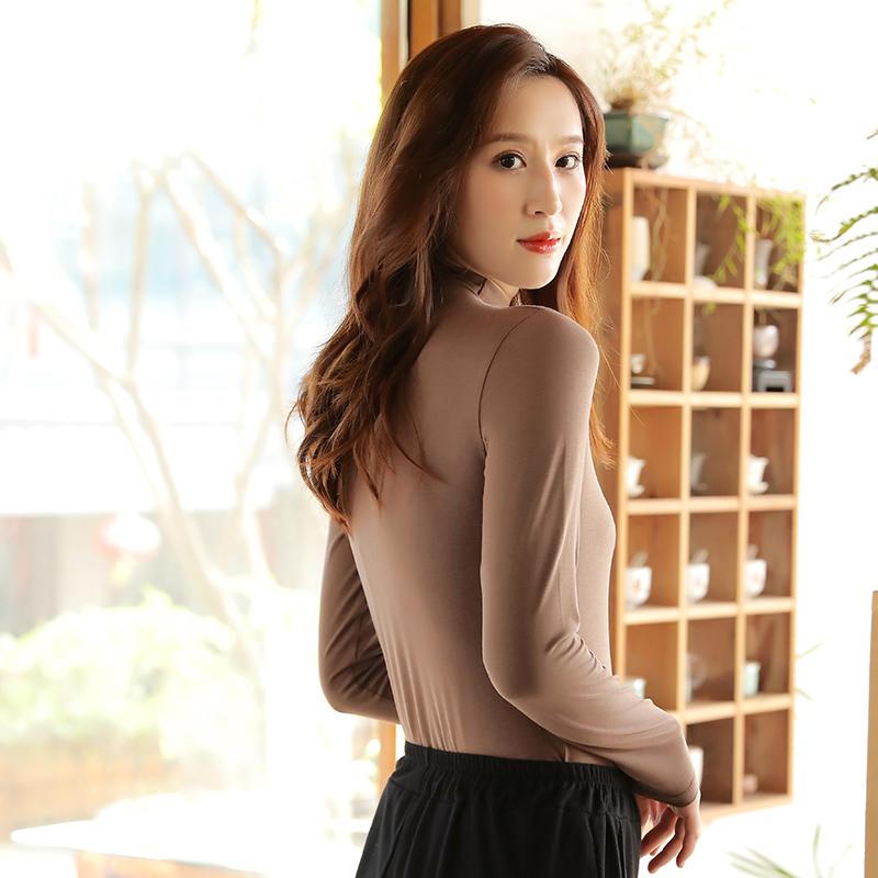 莫代尔半高领打底衫女秋冬长袖t恤纯色百搭新款内搭黑色薄款上衣