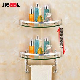 免打孔浴室置物架洗澡间淋浴房卫生间三角架冲凉房太空铝毛巾架杆
