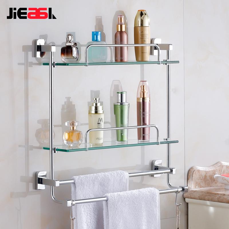 卫浴置物架壁挂式厕所毛巾架打孔置物架铜双层卫生间双杆浴室架